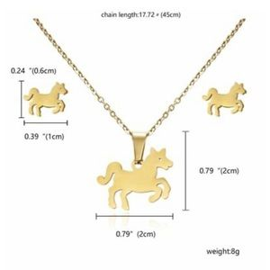 New horse earring and necklace gift set